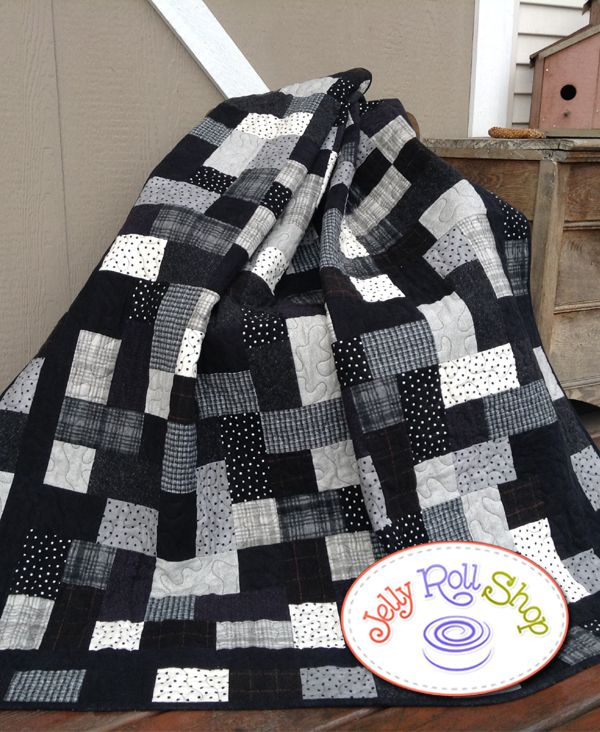 - Hopscotch Flannel Quilt - Black & White - Jelly Roll Shop