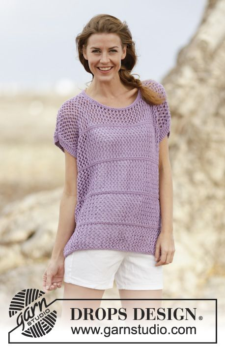 """Knitted DROPS top with lace pattern in """"Big Merino"""". Size: S - XXXL ..."""
