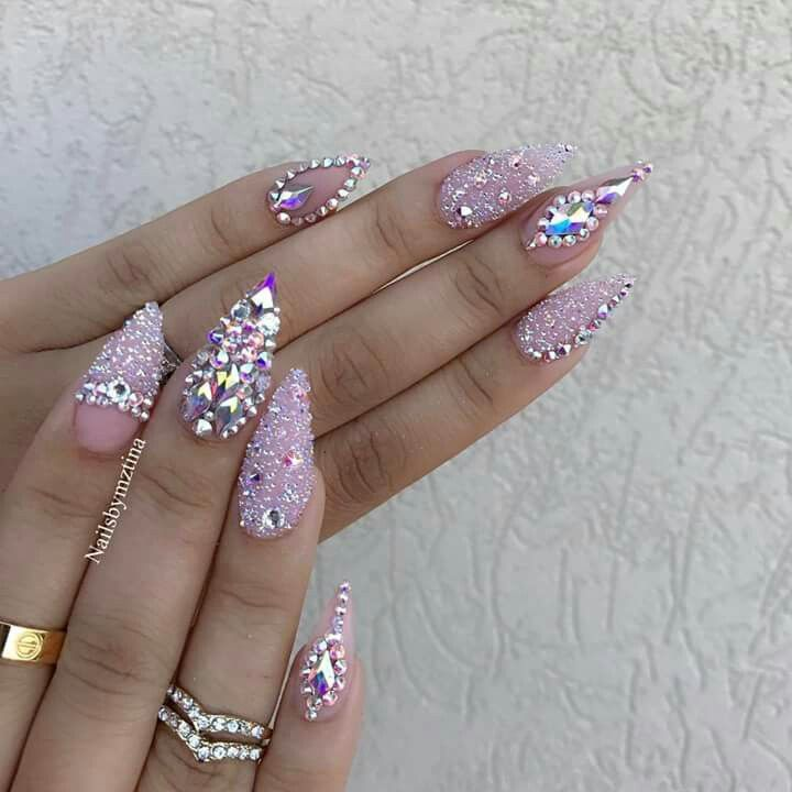 Matte Coffin Nails With Rhinestones Nails Design With Rhinestones Matte Nails Design Rhinestone Nails