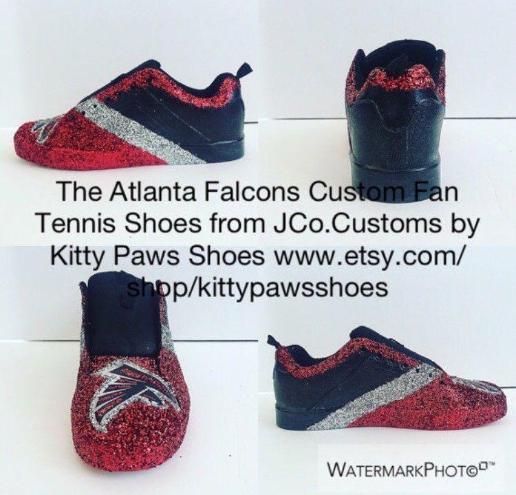9a8d948829d8 Women's Custom Atlanta Falcons Football Red Black Silver Glittered Tennis  Shoes   eBay