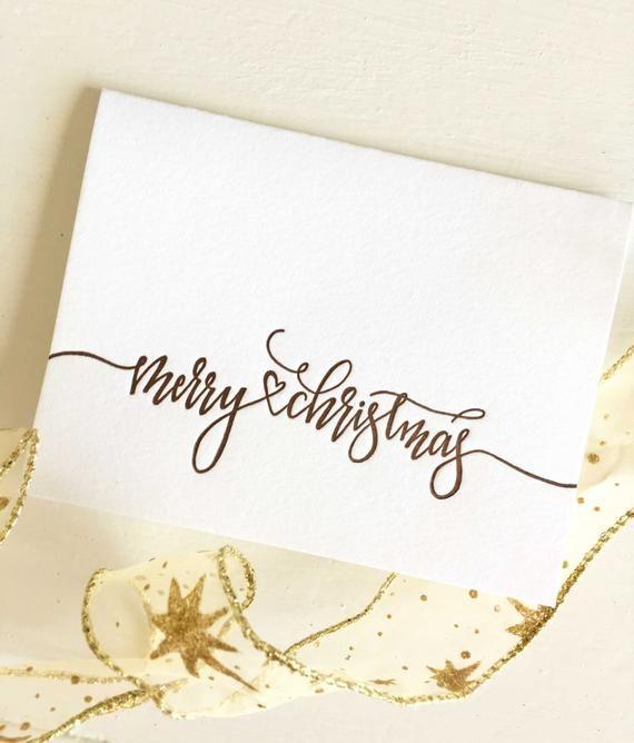 Merry Christmas Card - Christmas Card Set - Calligraphy Christmas Card - Letterpress Christmas Card - Holiday Cards - Christmas Cards