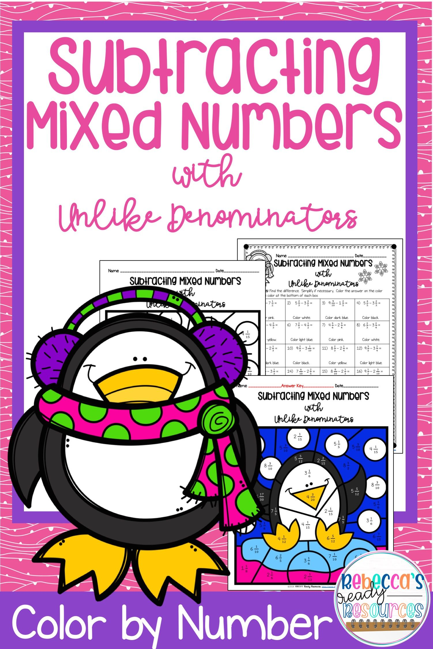 Subtracting Mixed Numbers With Unlike Denominators Color