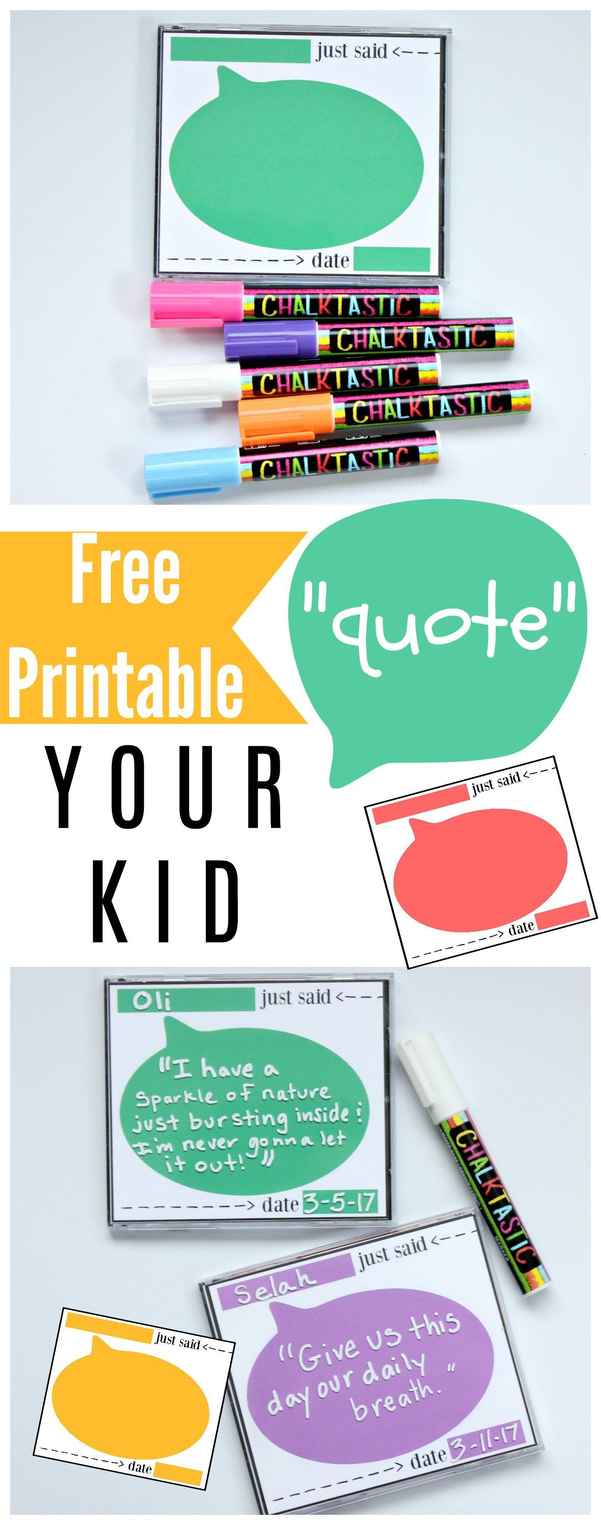 Free Printable to Quote Your Kid in 2018   FONTS & PRINTABLES ...