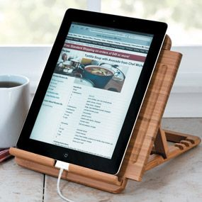 Lipper Bamboo Tablet/iPad Stand, 1887 Adjustable Tablet Holder Lets You  Easily View Recipes, Read Books, Browse, Shop Or Watch Movies.