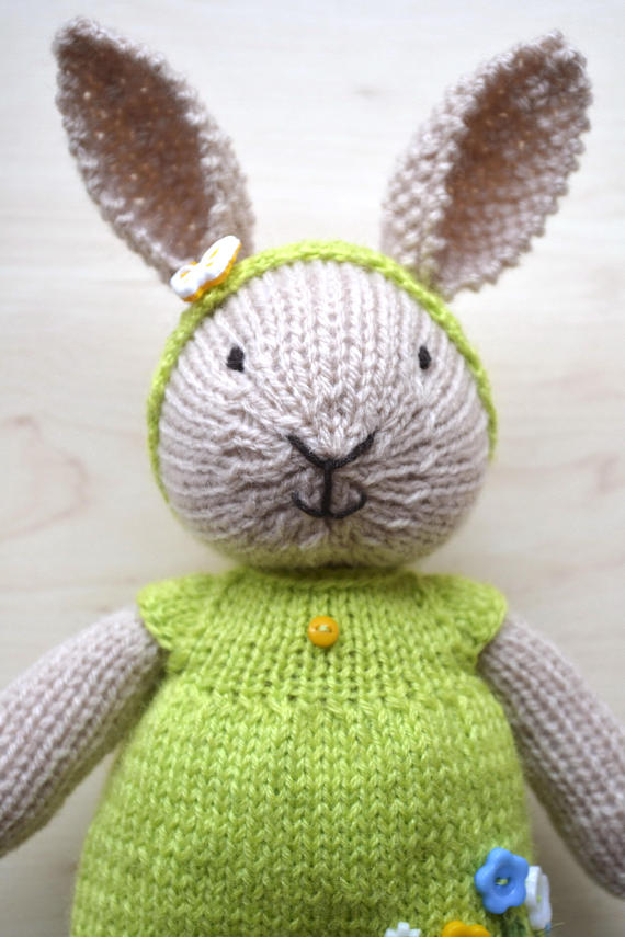 Hand knit easter bunny girl soft toy knitted little easter bunny hand knit easter bunny girl soft toy knitted little easter negle Gallery