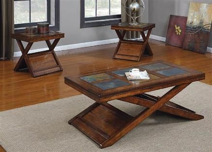 Benicia Dark Oak Slate Wood 3pc Pack Coffee End Table Set With Images Coffee Table Slate Top Coffee Table 3 Piece Coffee Table Set