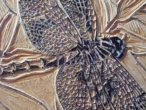 Dragonfly original woodblock print printmaking wood