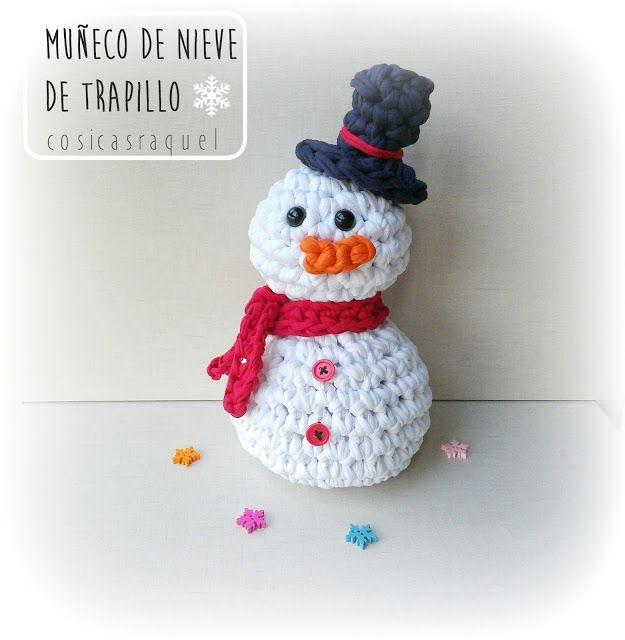 cosicasraquel: Muñeco de Nieve de Trapillo | Manualidades de navidad ...