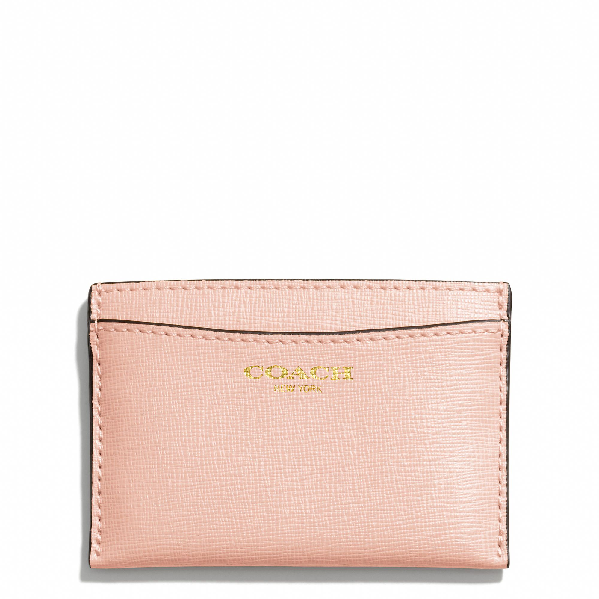 COACH Flat Card Case in Saffiano Leather in Peach Rose | Coach ...