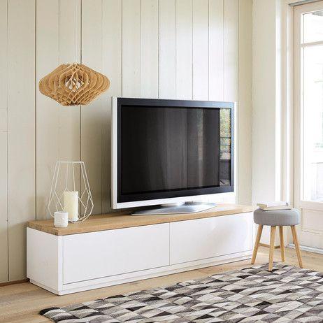 meuble tv en ch ne massif blanc l 180 cm austral maisons. Black Bedroom Furniture Sets. Home Design Ideas