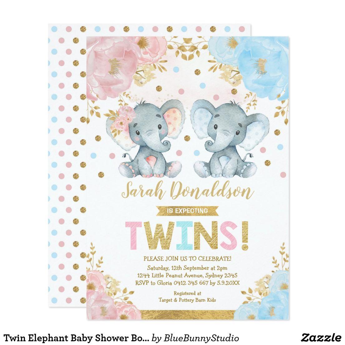 Twin Elephant Baby Shower Boy Girl Twins Invitation Zazzle Com Elephant Baby Shower Boy Twin Girls Baby Shower Elephant Baby Shower Invitations