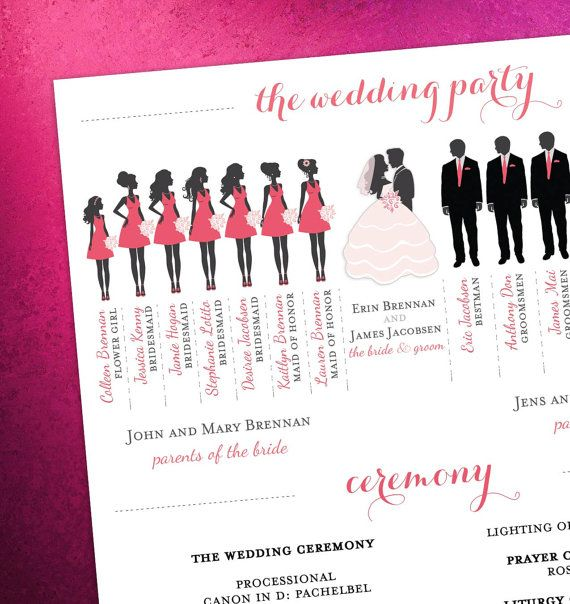 Modern Day Wedding Program With Bridal Party By Eventswithgrace 50 00
