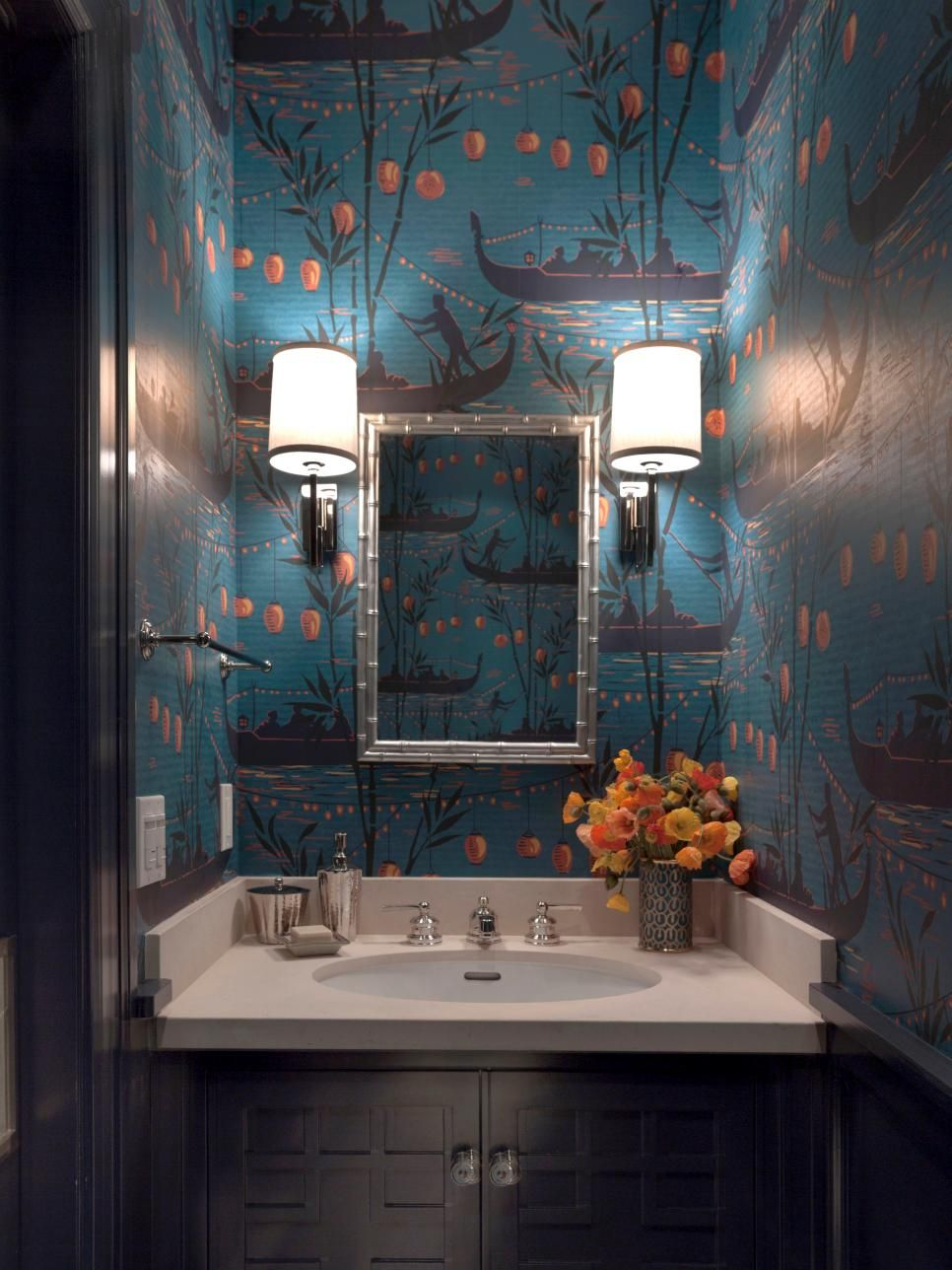 Unique wallpaper powder room design by Ann Lowengart in