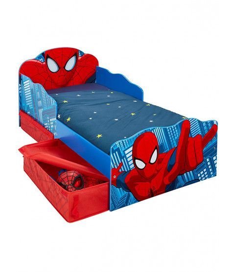 Spiderman Toddler Bed With Storage And Light Up Eyes Toddler Bed
