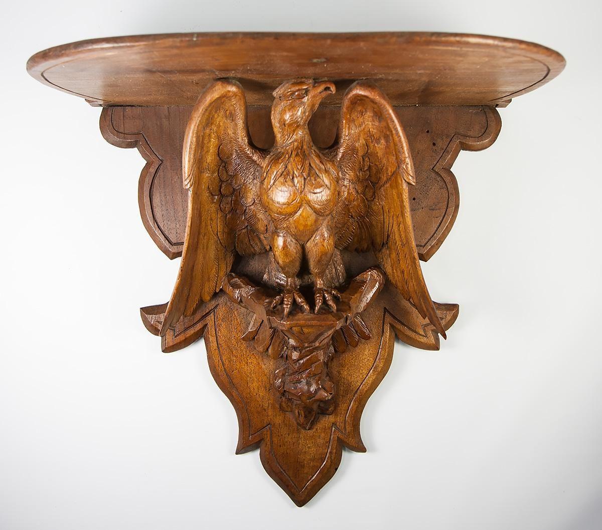 "Antique Black Forest PAIR of Large 13"" Wall Shelf, Bracket or Clock Shelves, Eagles"