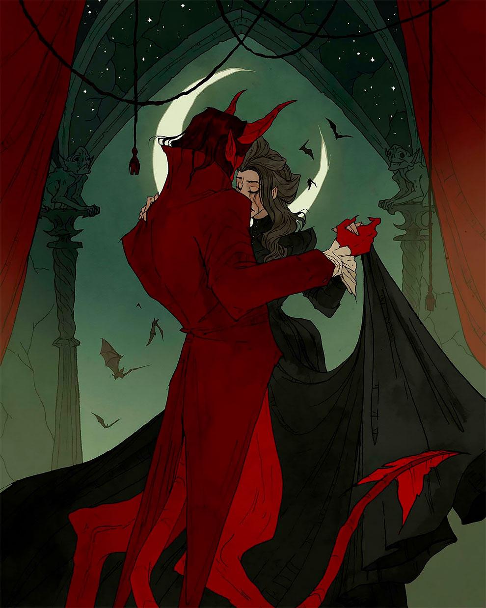 Любовь и кровь превосходная готическая иллюстрация Ларсон