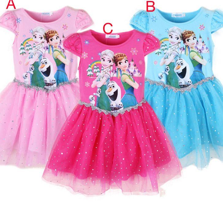 763911e2284b Hot Kids Girls Frozen Dresses Princess Anna Elsa Party Casual Summer Dress   ebay  Fashion