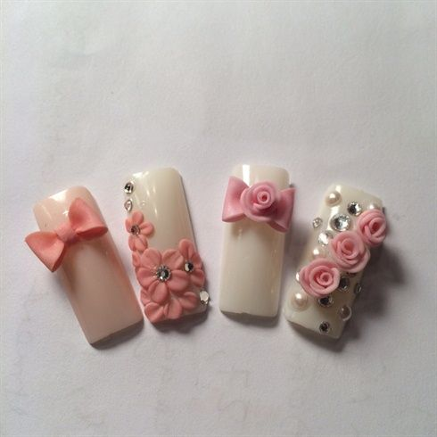 3d Rose And Bow Nails Design - Nail Art Gallery - 3d Rose And Bow Nails Design - Nail Art Gallery Uñasss