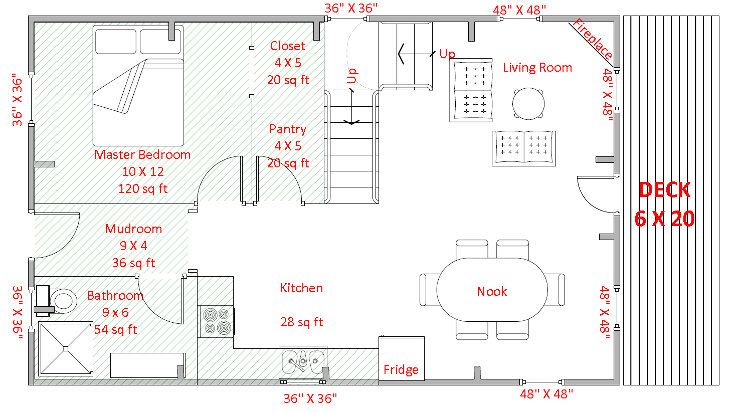 20' x 32' Sample Floor Plan  Please note: All floor plans are