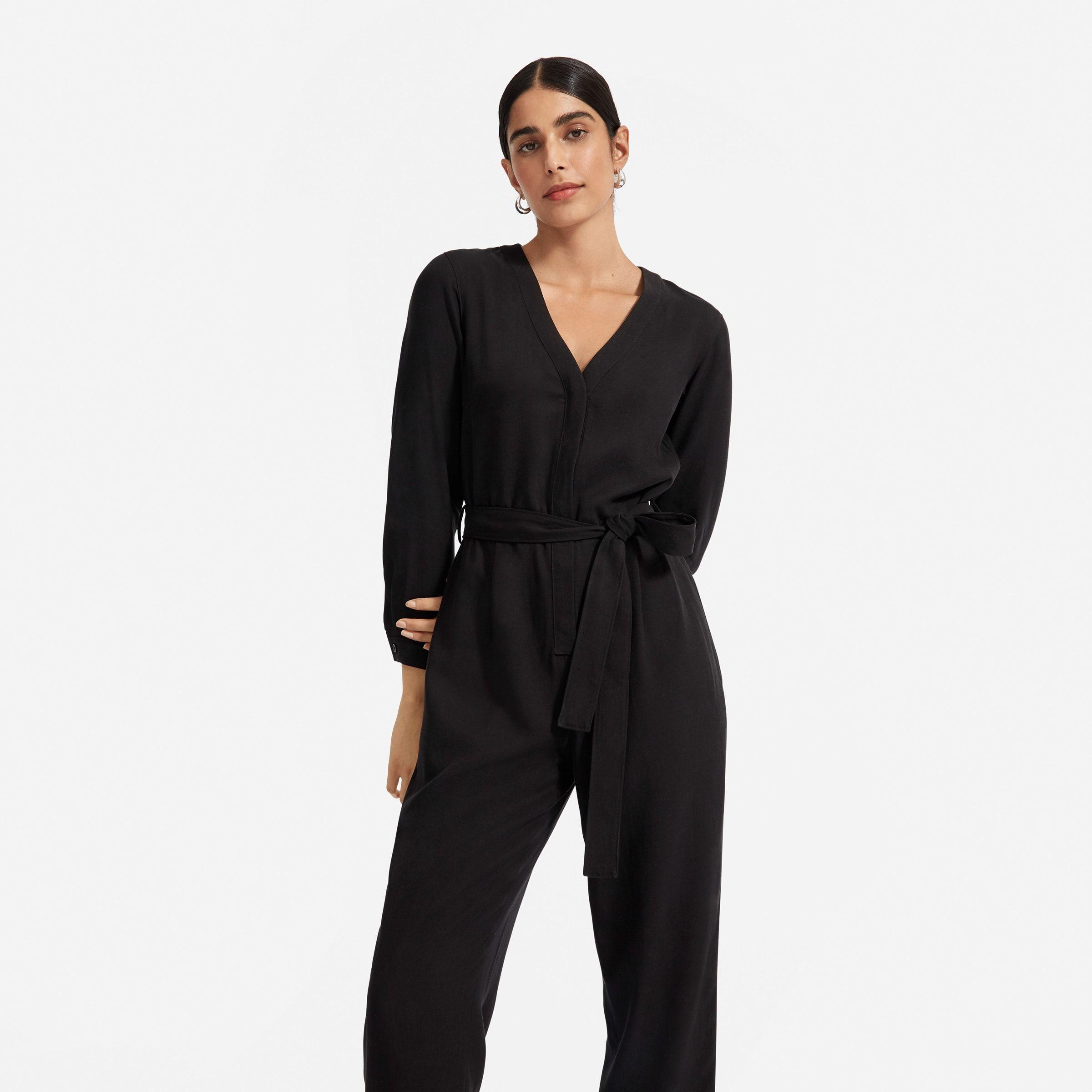 Forget The Little Black Dress The Drape Jumpsuit Features Feminine Blouson Sleeves A Slightly Cropped Hem An Easy Remov Jumpsuit Black Jumpsuit Clothes 2019 [ 2400 x 2400 Pixel ]