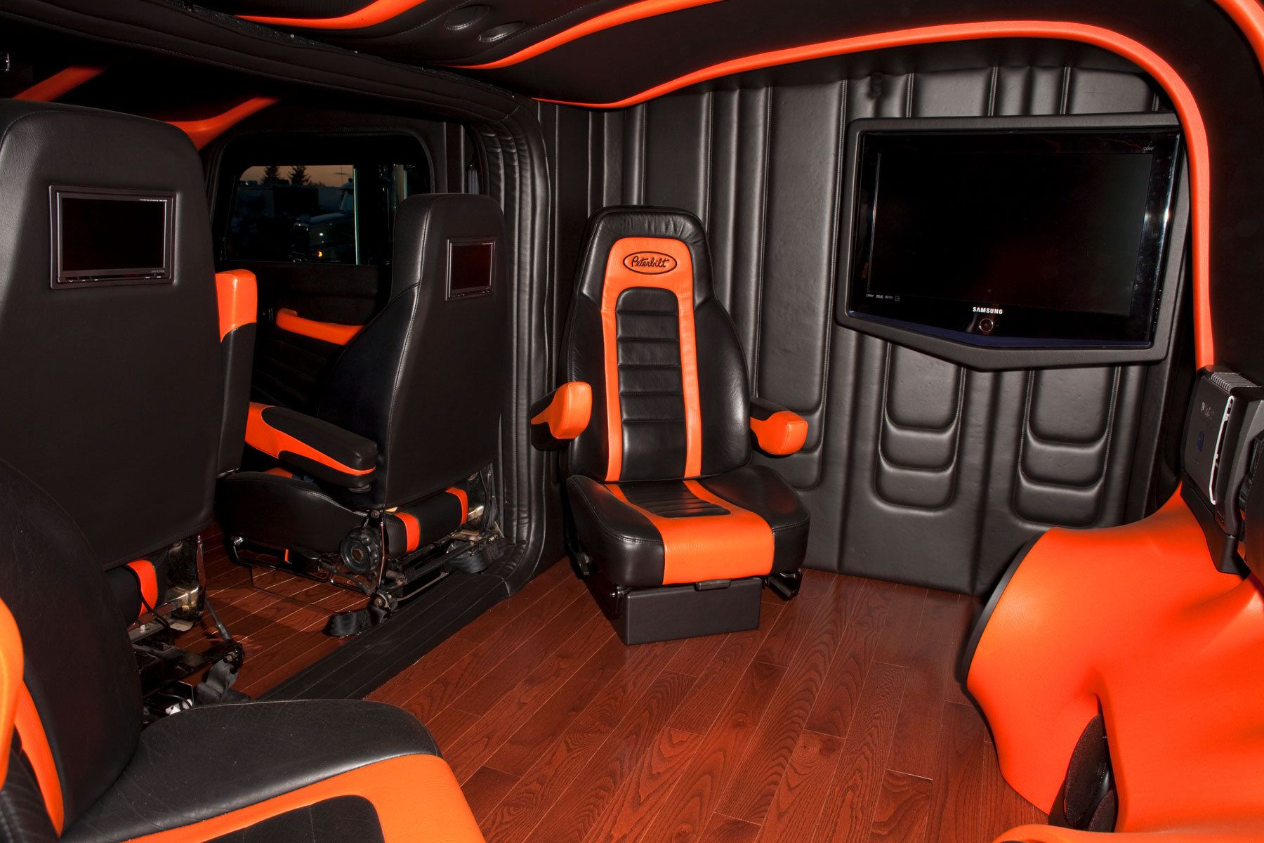 Awesome Orange Game Room In Tiny Space Camper Big Rigs Pinterest Truck Interior Used