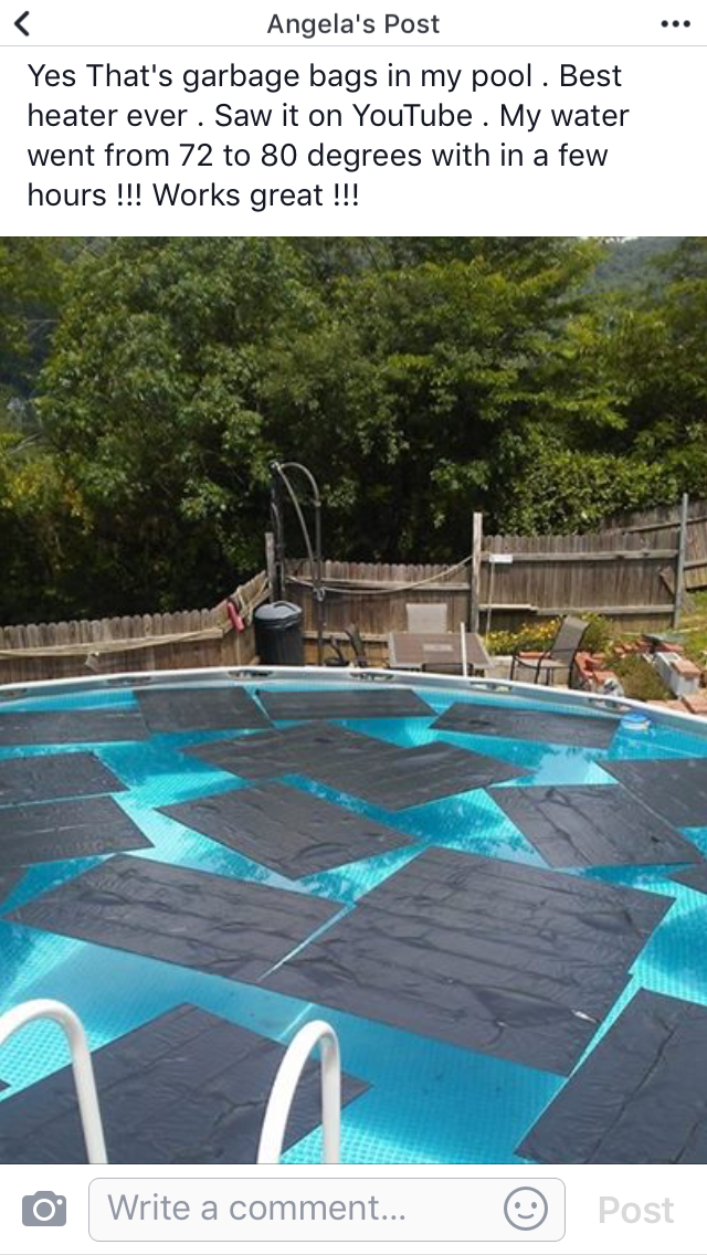 do black garbage bags warm up a pool