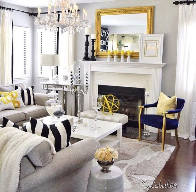 White Black And Yellow With Touches Of Navy Blue Yellow Decor