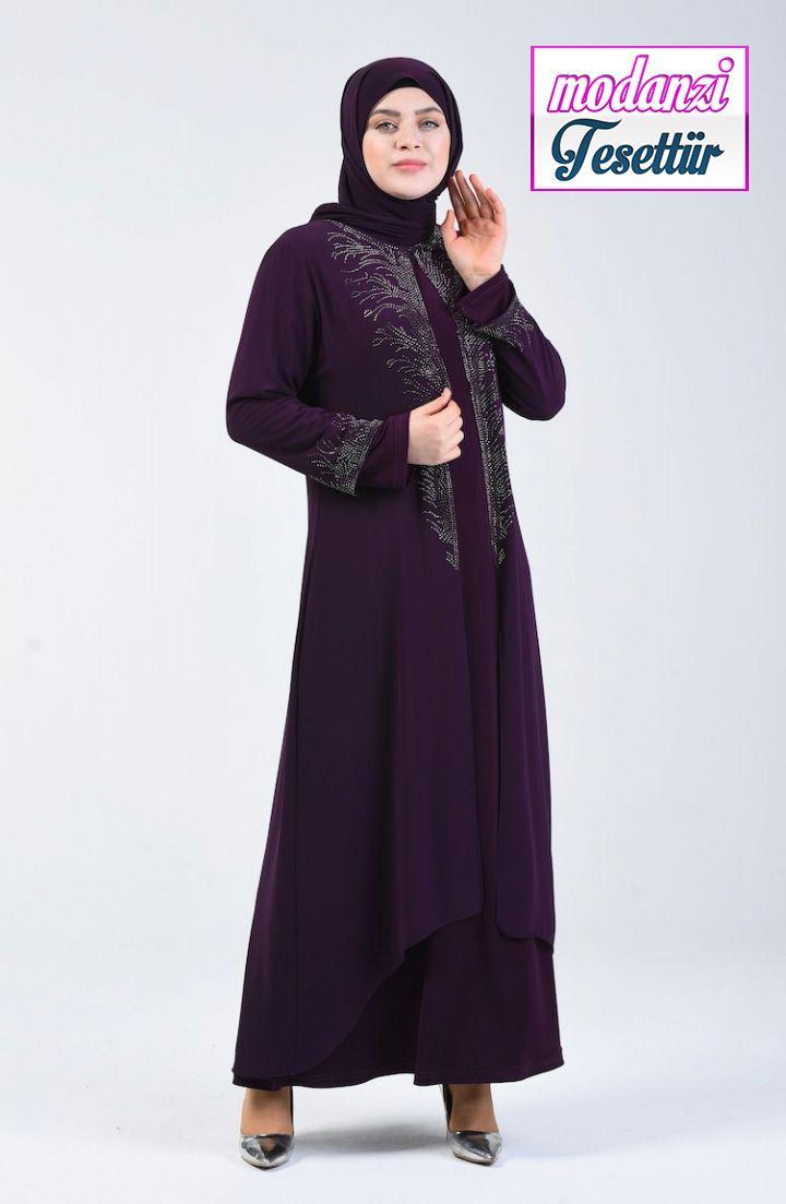 Sefamerve Buyuk Beden Abiye Buyuk Beden Takim Gorunumlu Tasli Abiye Elbise 0001 04 Mor 2020 Moda Stilleri Elbise Elbise Modelleri