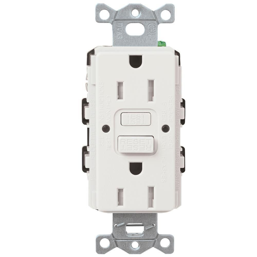 Lutron Tamper Resistant Gfci Duplex Receptacle 15 Amp White Combination Single Pole Toggle Switch And 2pole Satin Colors The Home Depot