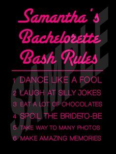 Fun Bachelorette Party Rules Sign #bachlorettepartyideas