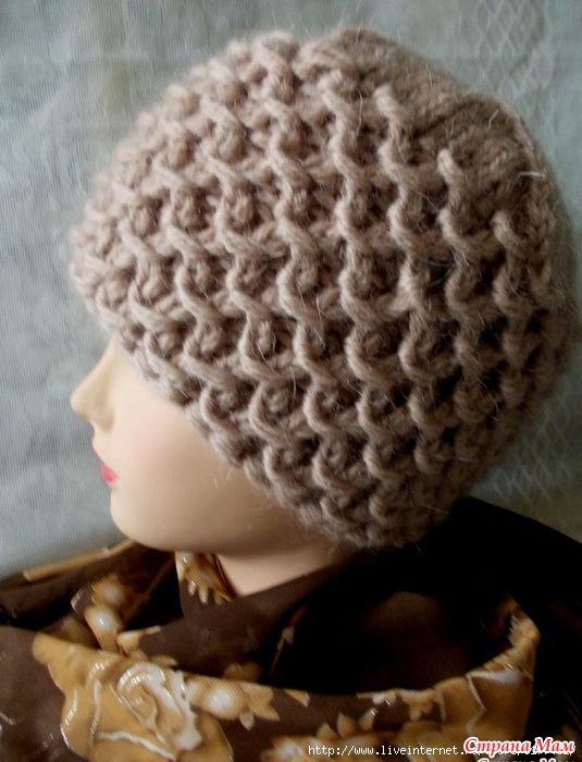 Зимняя шапочка /узор с обвитыми петлями/   Шапки   Pinterest ...