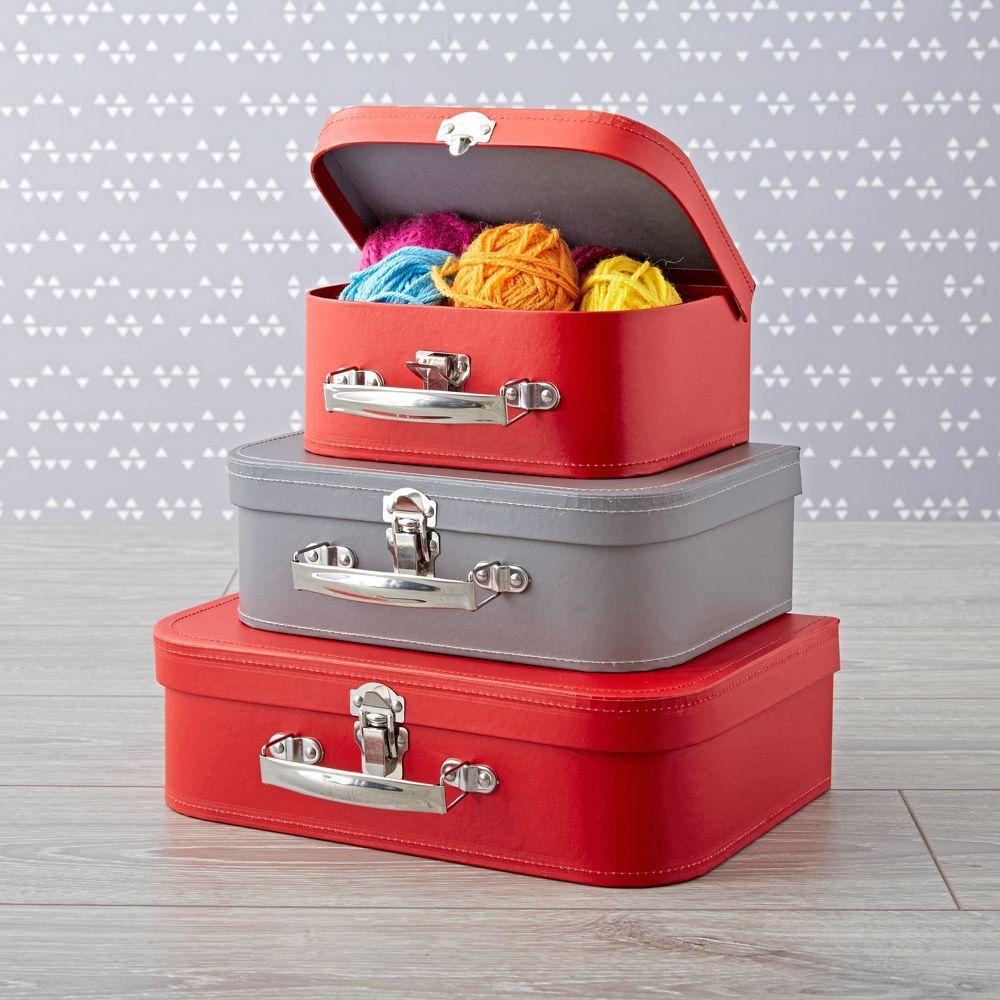 Bon Voyage Red and Grey Suitcase Set