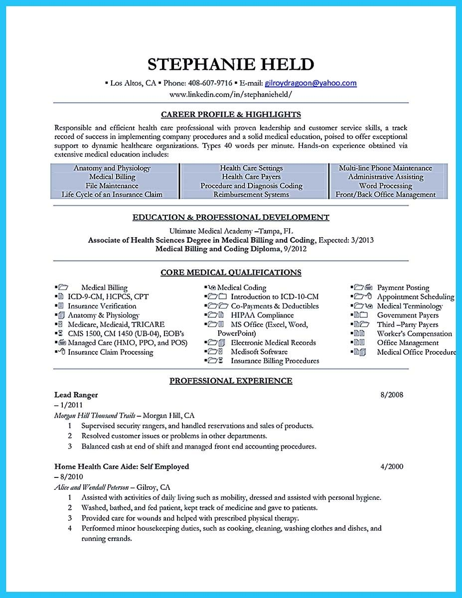Nice Exciting Billing Specialist Resume That Brings The Job To You Medical Billing And Coding Medical Coder Resume Coding Jobs