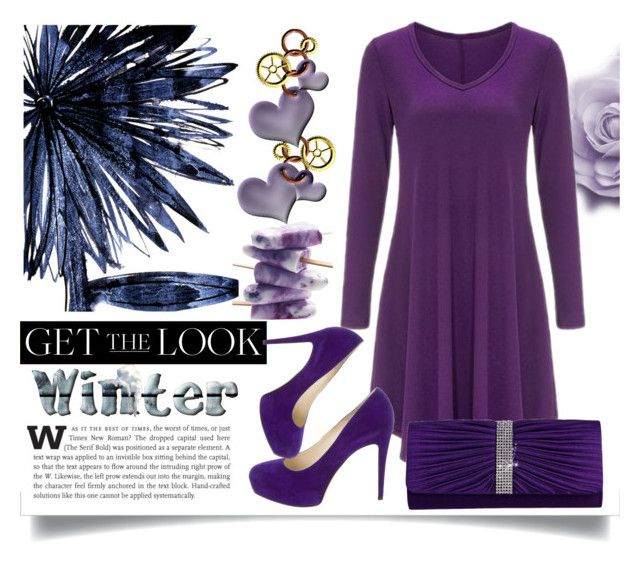 """""""Winter Look: Long Sleeved Dress"""" by jeneric2015 ❤ liked on Polyvore featuring Leftbank Art, Brian Atwood and GetTheLook"""
