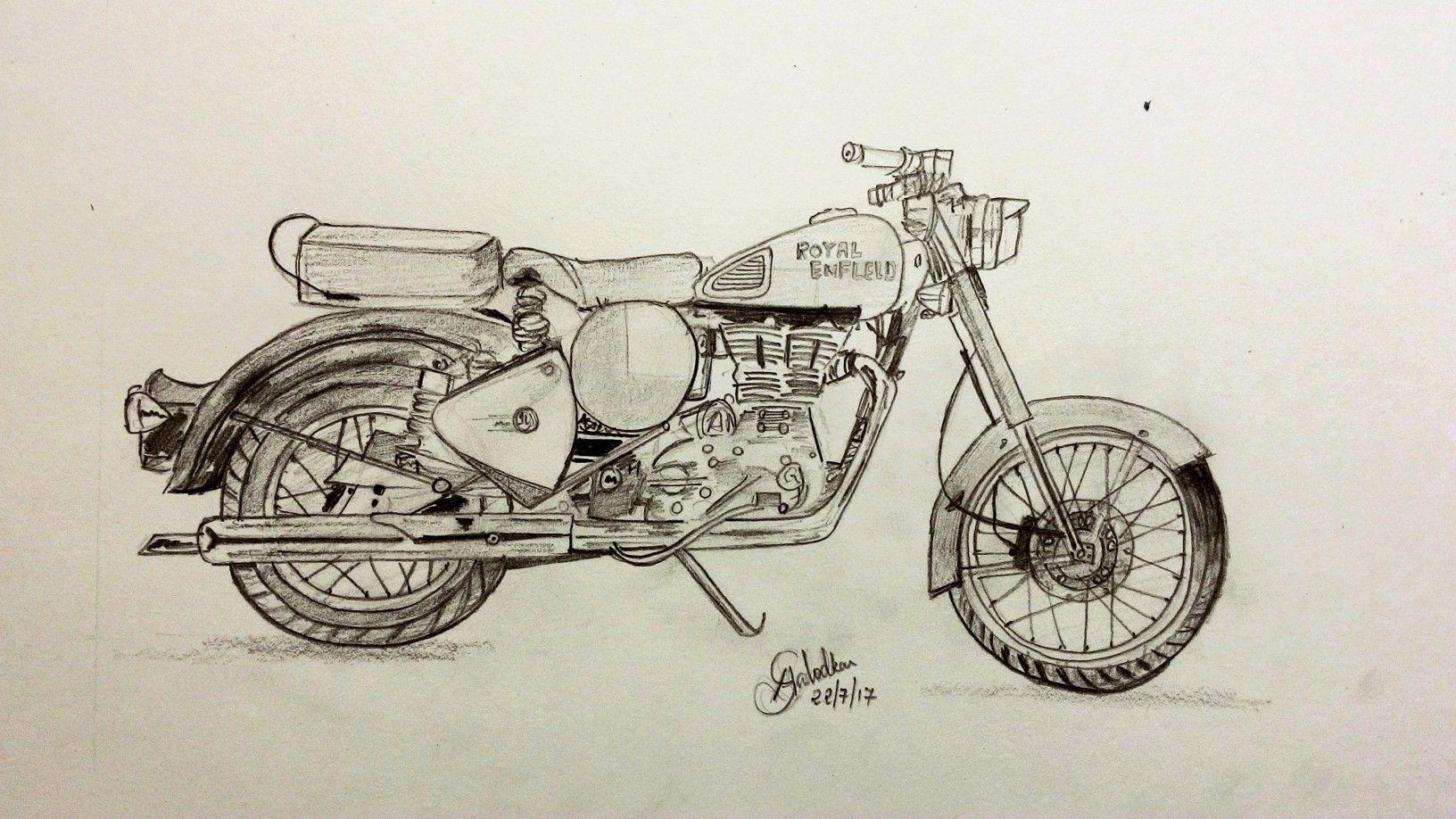 Royal Enfield | Art drawings simple, Bike sketch, Drawing ...