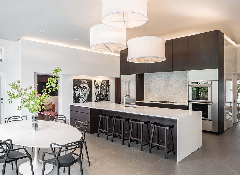 Modern Kitchen Nook modern kitchen with breakfast bar, undermount sink, complex marble