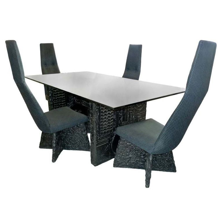 N View This Item And Discover Similar Dining Room Tables For Sale At  The  Brutalist Design Of The Table Base U0026 Chairs Is Made A Bronze Resin Substance In