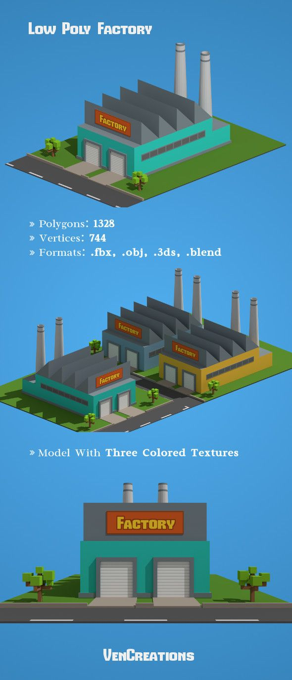 Low Poly Factory  3D model of a building  #building #cartoon