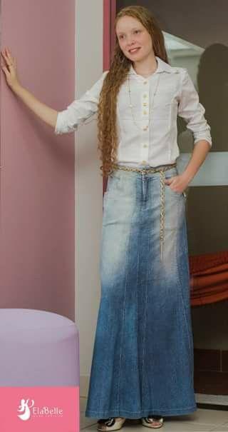 e35961e01 Moda evangélica- falda de jean larga con camisa blanca. Combinar ...