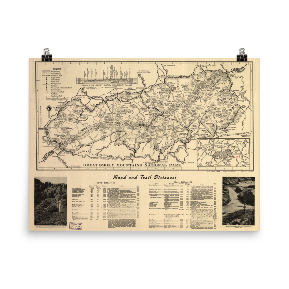 1941 Great Smoky Mountains National Park Map National