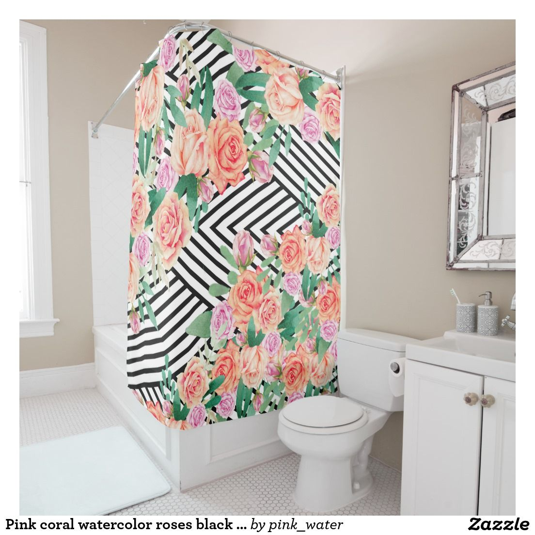 Pink coral watercolor roses black white stripe shower curtainPink coral watercolor roses black white stripe shower curtain  . Pink And White Striped Shower Curtain. Home Design Ideas