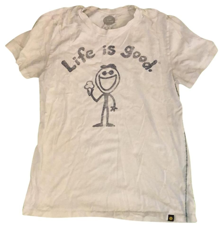 Life is Good  Is Beige  Black Graphic Tee Shirt Size Petite 8 M  Vintage Source by Tradesy tees vintage