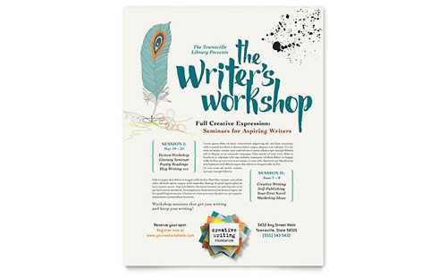 Writeru0027s Workshop - Flyer Template Grafica Pinterest Flyer - workshop flyer template