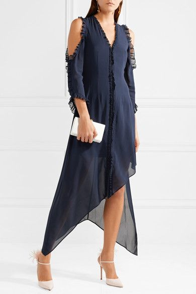Claudie Cold-shoulder Ruffled Silk-blend Chiffon Midi Dress - Midnight blue Alice & Olivia 8fjRSS7D