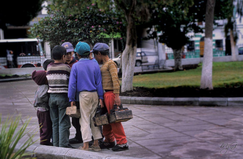 Shoeshine boys of Peru by Mike Gabelmann