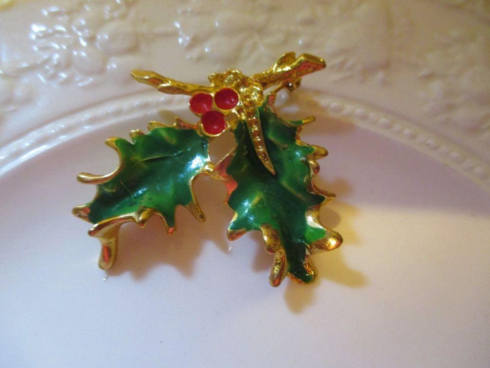 Vintage Christmas Enameled Holly  Berries Pin #Unbranded Vintage