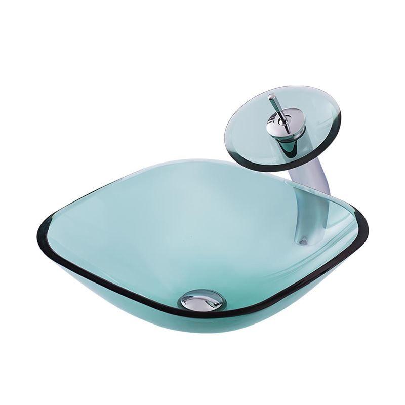 Glas Waschbecken Set Milchglas Eckig Design Glass Basin Modern
