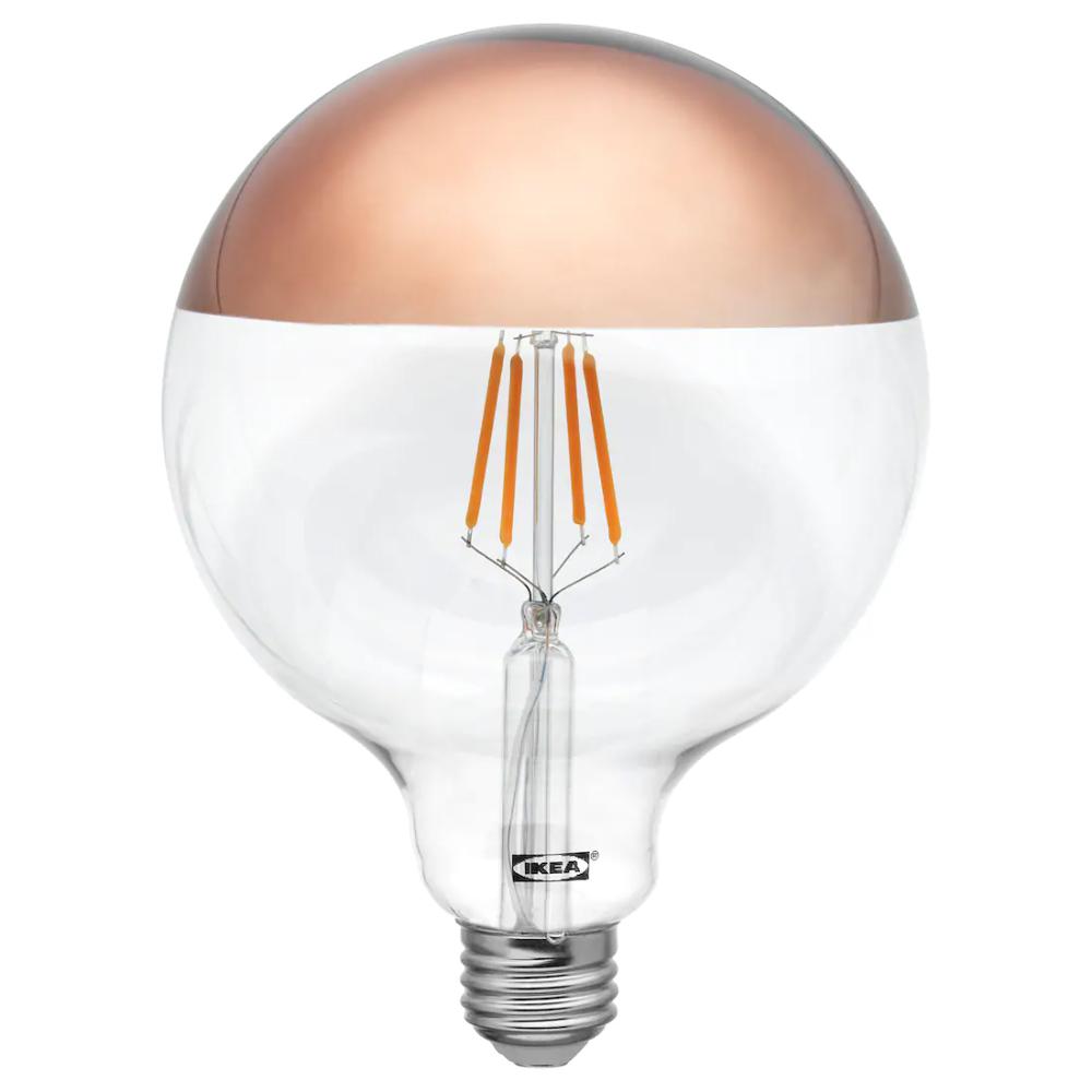 Sillbo Led Bulb E26 140 Lumen Globe Mirrored Top Bronze Colored Ikea In 2020 Mirror Tops Led Bulb Led Light Bulb