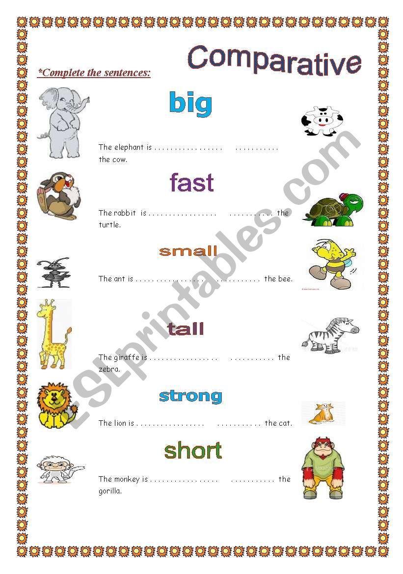 Comparative worksheet Worksheets, Grammar worksheets
