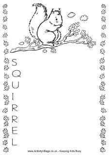 FREE printable Squirrel coloring page stationery